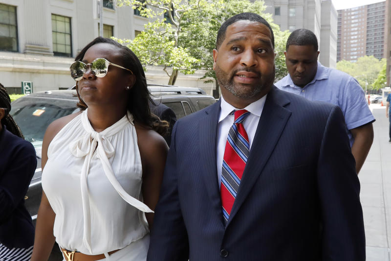 Former University of Arizona assistant men's basketball coach Emanuel Richardson leaves Manhattan federal court in New York, after he was sentenced on a bribery conspiracy charge. (AP)
