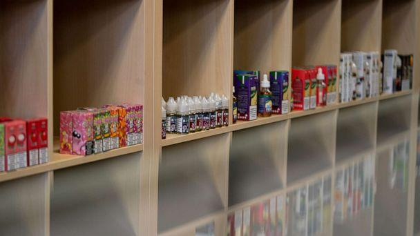 PHOTO: Vape juice for electronic cigarettes is displayed for sale at a vape store in Tacoma, Washington, Sept. 29, 2019. (Jovelle Tamayo/Bloomberg via Getty Images)