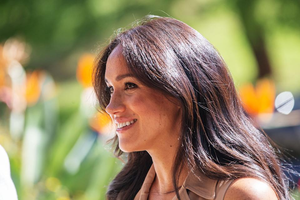 Meghan Markle, the Duchess of Sussex smiling
