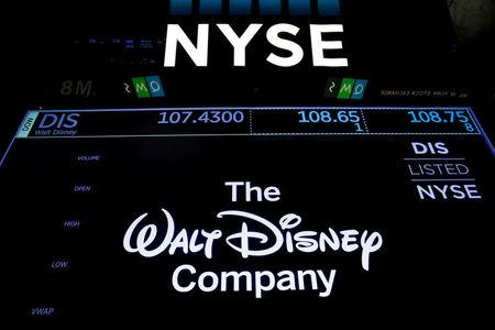 A screen shows the trading info for The Walt Disney Company company on the floor of the New York Stock Exchange (NYSE) in New York, U.S., December 13, 2017. REUTERS/Brendan McDermid