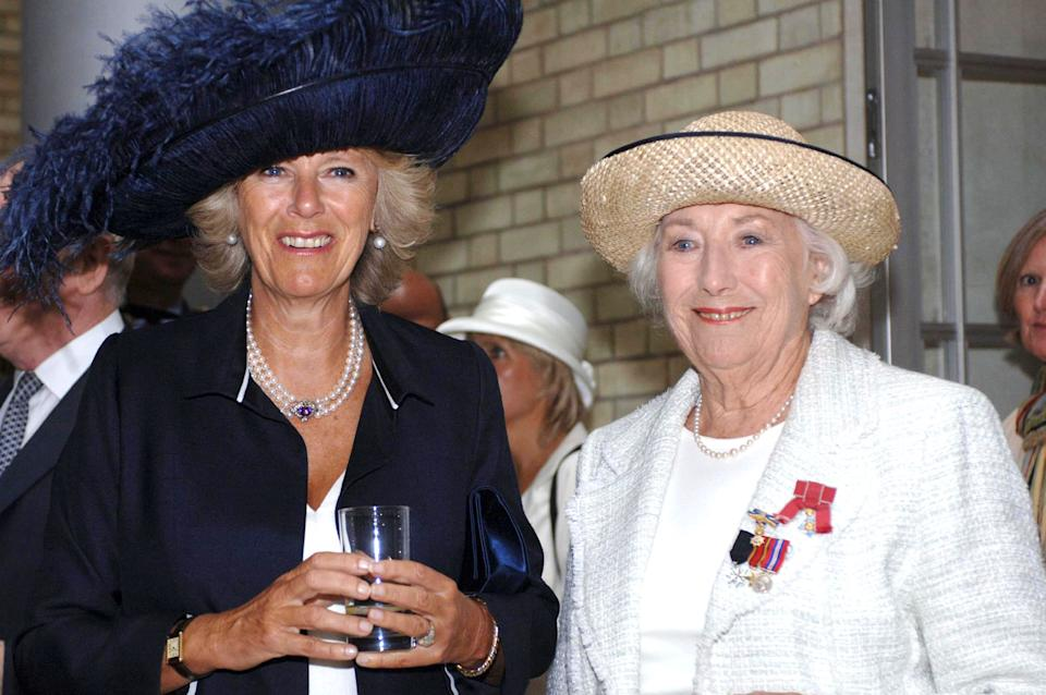 *** NOT FOR UK USE UNTIL 18 OCTOBER 2005 *** Camilla Duchess of Cornwall, in a hat by Philip Treacy, with singer Dame Vera Lynn, the forces sweetheart, at a reception in the Ministry of Defense to mark the 65th anniversary of the Battle of Britain. (Photo by © Pool Photograph/Corbis/Corbis via Getty Images)