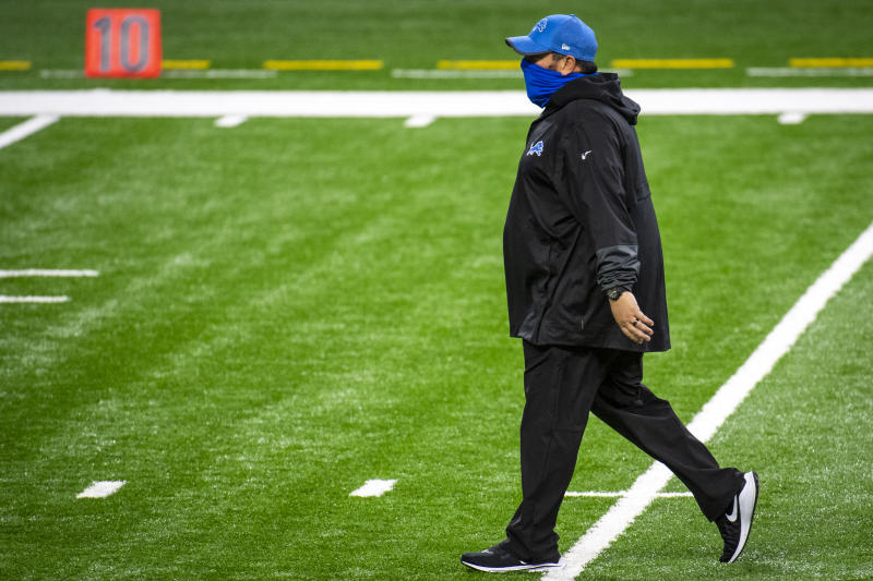 DETROIT, MI - OCTOBER 04: Head coach Matt Patricia of the Detroit Lions looks on before the first quarter against the New Orleans Saints at Ford Field on October 4, 2020 in Detroit, Michigan. (Photo by Nic Antaya/Getty Images)