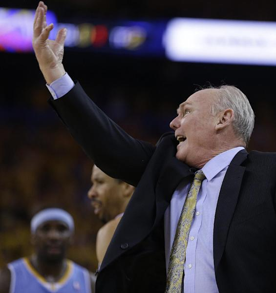 Denver Nuggets coach George Karl gestures from the sidelines during the second half of Game 6 in a first-round NBA basketball playoff series against the Golden State Warriors on Thursday, May 2, 2013, in Oakland, Calif. (AP Photo/Ben Margot)
