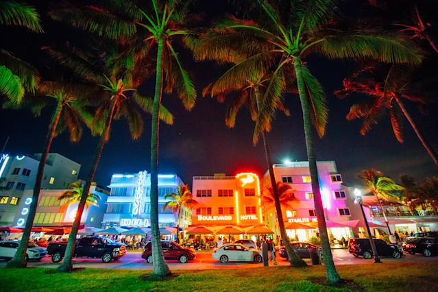 Ocean Drive and Art Deco District in South Beach, Miami at night, Florida, USA. Photo: Getty