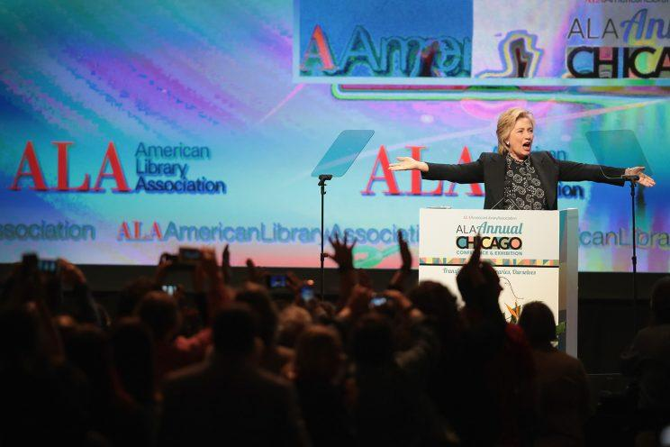 Another view of former Secretary of State Hillary Clinton speaking to guests at the ALA conference on June 27, 2017.