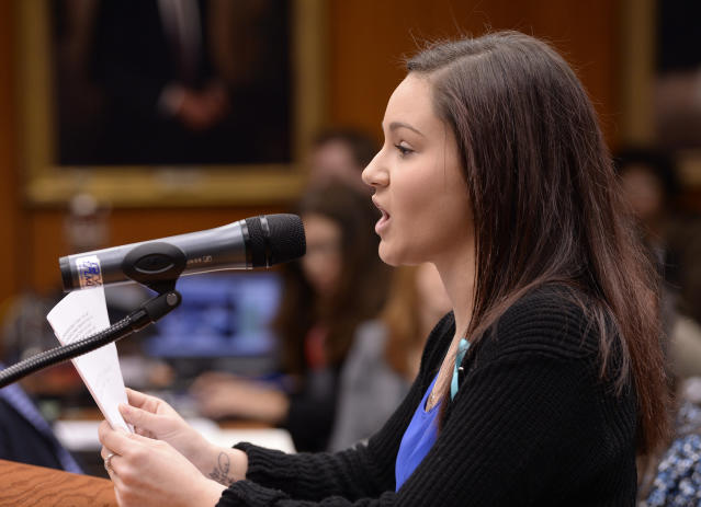 Larry Nassar victim Kaylee Lorincz spoke at the MSU board meeting on Friday, and accused the interim president of pressuring her to accept a payoff without her lawyer present. (Clarence Tabb Jr./The Detroit News)