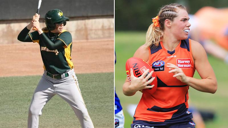 Pictured here Jacinda Barclay playing baseball as well as AFLW for the Giants.