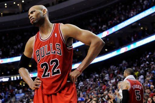 Chicago Bulls' Taj Gibson (22) stares at an official after a foul called against him during the second half of Game 4 in a first-round NBA basketball playoff series against the Philadelphia 76ers in Philadelphia, Sunday, May 6, 2012. The 76ers won 89-82. (AP Photo/Michael Perez)
