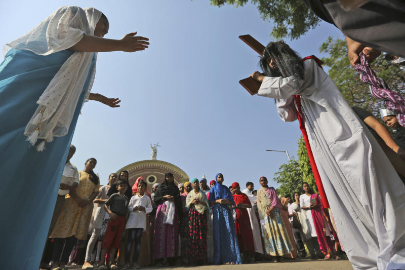 Christians mark Good Friday outside St. Joseph's Cathedral in Prayagraj, India, on April 19, 2019. (Rajesh Kumar Singh / ASSOCIATED PRESS)