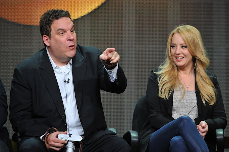 FILE - In this Aug. 4, 2013 file photo, actors Jeff Garlin, left, and Wendi McLendon-Covey attend the Disney/ABC Television Group's 2013 Summer TCA panel in Beverly Hills, Calif. (Photo by Vince Bucci/Invision/AP, File)