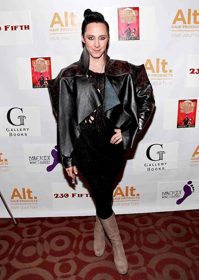 "Speaking of fashion faux pas, what on Earth was figure skater Johnny Weir wearing to his book release fete at NYC's 230 Fifth Avenue? Not even Lady Gaga would be caught dead in such a ghastly getup! Charles Eshelman/<a href=""http://www.wireimage.com"" target=""new"">WireImage.com</a> - January 11, 2011"