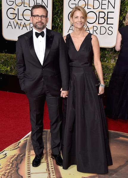 Steve Carell in a black tux and matching with his wife at the 73rd Golden Globe Awards.