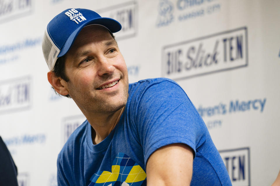 KANSAS CITY, MO - JUNE 07: Paul Rudd answers questions during a press conference at Children's Mercy Hospital during the Big Slick Celebrity Weekend benefiting Children's Mercy Hospital of Kansas City on June 07, 2019 in Kansas City, Missouri. (Photo by Kyle Rivas/Getty Images)