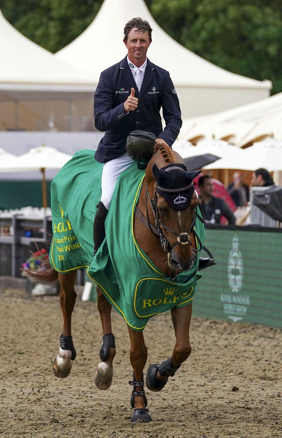 Ben Maher following his victory in the Rolex Grand Prix at Windsor on Explosion W (Steve Parsons/PA) (PA Wire)