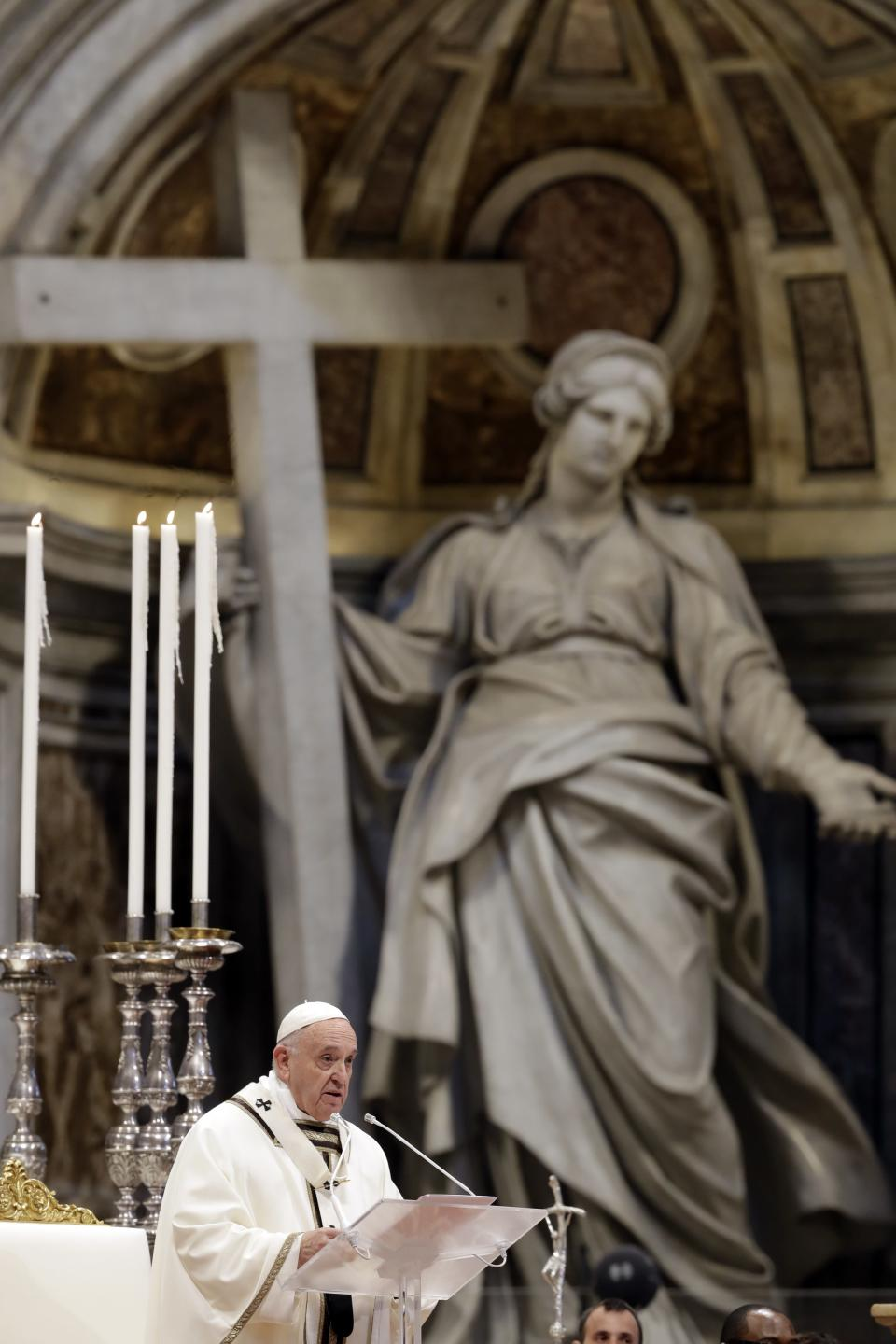 Pope Francis celebrates Chrism Mass inside St. Peter's Basilica, at the Vatican, Thursday, April 18, 2019. During the Mass the Pontiff blesses a token amount of oil that will be used to administer the sacraments for the year. (AP Photo/Alessandra Tarantino)