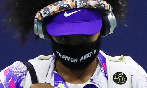Naomi Osaka wearing a face mask with the name of Trayvon Martin at the US Open last year, showing her support for Black Lives Matter.