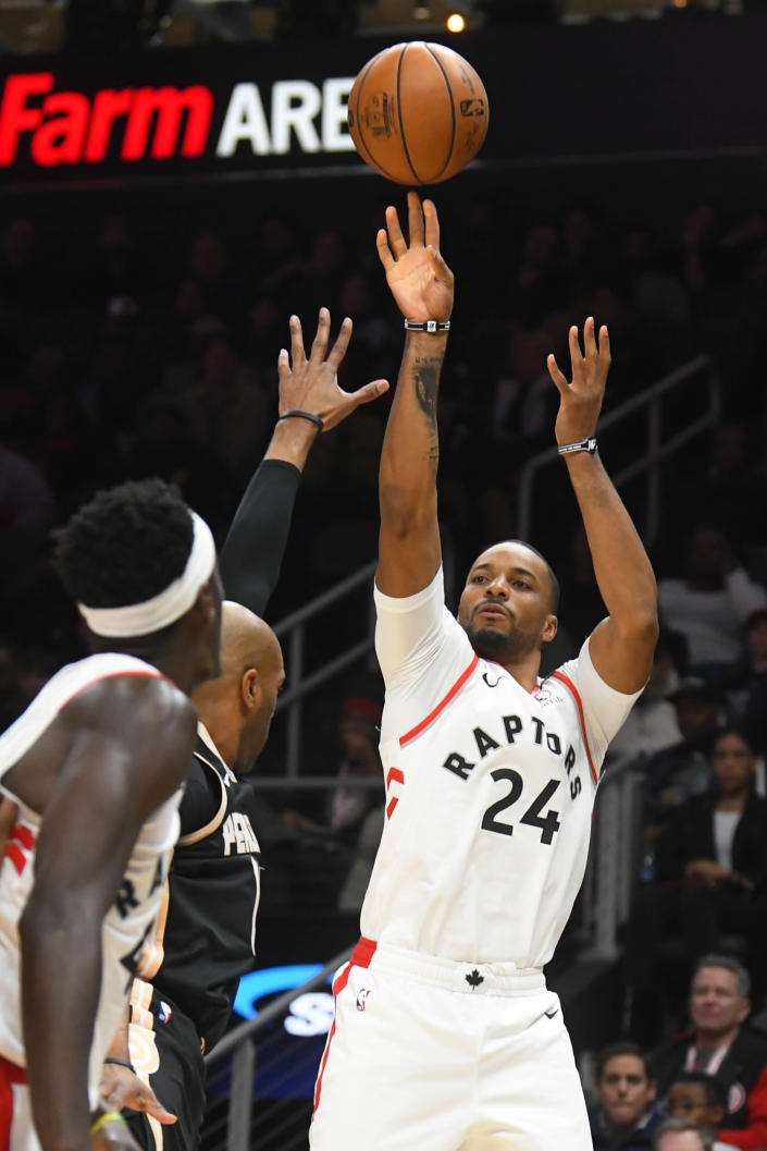 Toronto Raptors guard Norman Powell (24) shoots during the second half of an NBA basketball game against the Atlanta Hawks, Monday, Jan. 20, 2020, in Atlanta. Toronto won 122-117. (AP Photo/John Amis)