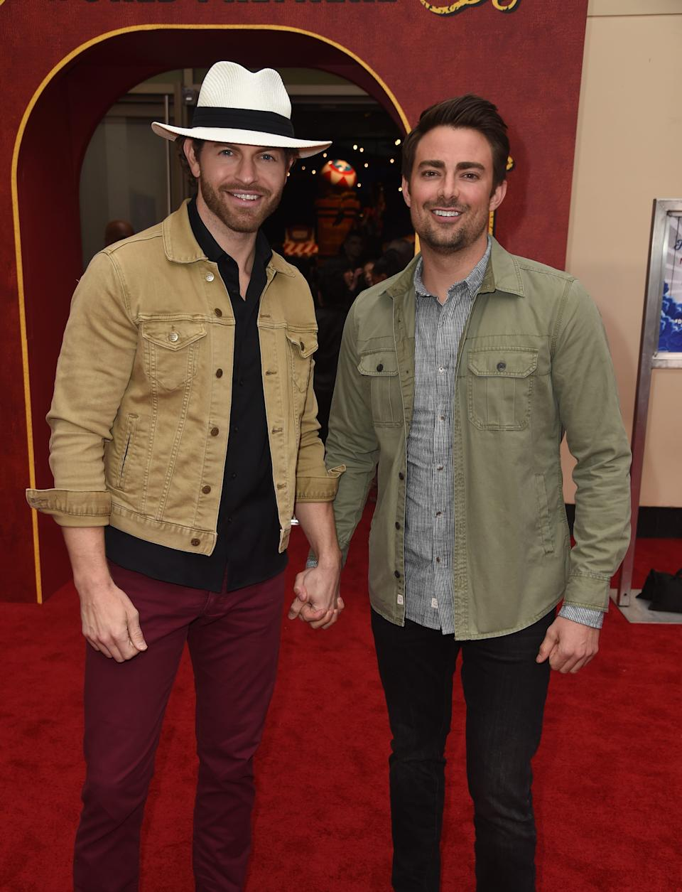 """Jonathan Bennett and his love, former """"Amazing Race"""" contestant Jaymes Vaughan, at the premiere of """"Dumbo""""  on March 11, 2019 in Los Angeles."""
