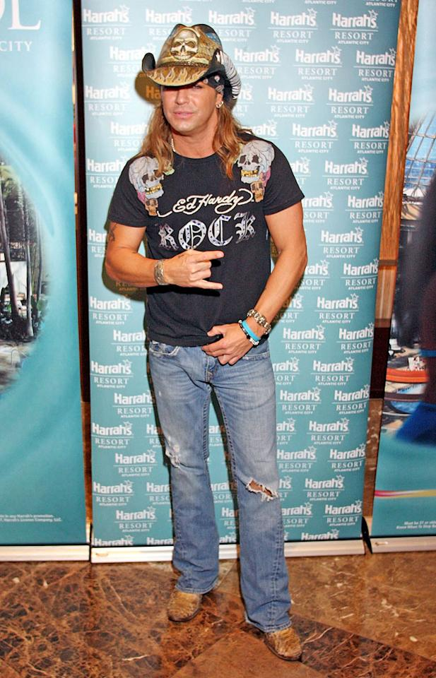 Bret Michaels poses for photographers before entering The Pool at Harrah's on June 13, 2008 at Harrah's in Atlantic City, New Jersey.