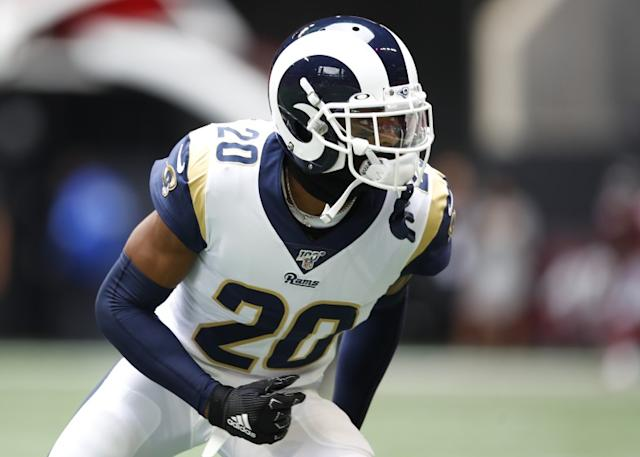 """The Rams traded two first-round draft picks to acquire Jalen Ramsey. To keep him past this season, they will need to address a new contract for the cornerback. <span class=""""copyright"""">(Todd Kirkland / Getty Images)</span>"""