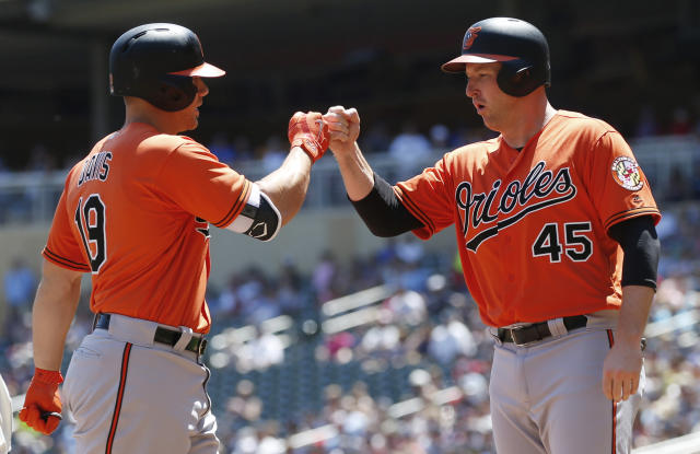 Baltimore Orioles' Chris Davis, left, is greeted by Mark Trumbo following a two-run home run by Davis off Minnesota Twins pitcher Kyle Gibson in the first inning of a baseball game Saturday, July 7, 2018, in Minneapolis. (AP Photo/Jim Mone)