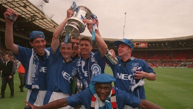 <p><strong>15th August 1992 vs Sheffield Wednesday</strong></p> <br><p>Welsh midfielder Barry Horne (pictured here with his right hand on the FA Cup in 1995) was Everton's sole goalscorer on the opening weekend of Premier League action back in 1992.</p> <br><p>His strike secured the Toffees a 1-1 draw against Sheffield Wednesday, with the team then going on to thrash Manchester United 3-0 in the first Premier League match at Goodison Park a few days later.</p>