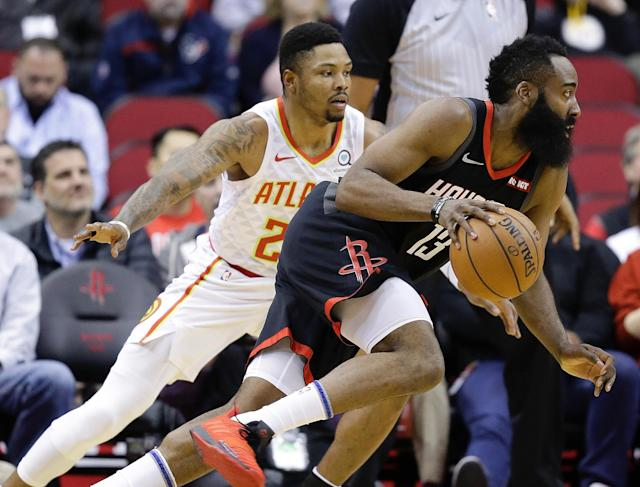 James Harden fell a bucket shy of 30 points in Monday's win over the Atlanta Hawks. (AP)