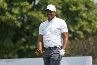 Jhonattan Vegas reacts as his tee shot lands on the seventh hole during the second round of the 3M Open golf tournament in Blaine, Minn., Friday, July 23, 2021. (AP Photo/Craig Lassig)