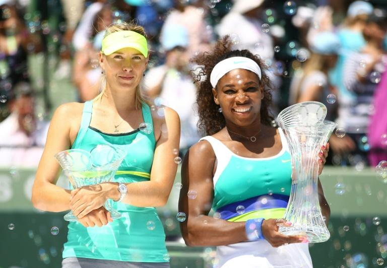Serena Williams, right, and Maria Sharapova will meet in a first-round match next week at the US Open