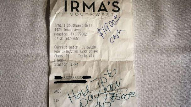 PHOTO: An anonymous couple left a $9,400 tip at Irma's Southwest Restaurant to help staff during coronavirus. (Courtesy Irma's Southwest Restaurant)