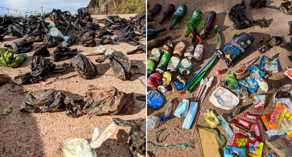 Dozens of dog poo bags cover the ground alongside a pile of rubbish that was found by Devon woman Hannah Beaumont.