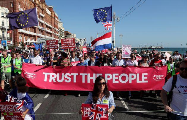 Shadow Foreign Secretary Emily Thornberry and Shadow Brexit Secretary Sir Keir Starmer at the Anti-Brexit 'Trust the People' march and rally held by the People�s Vote campaign during the Labour Party Conference in Brighton. PA Photo. Picture date: Saturday September 21, 2019. See PA story LABOUR Main. Photo credit should read: Gareth Fuller/PA Wire