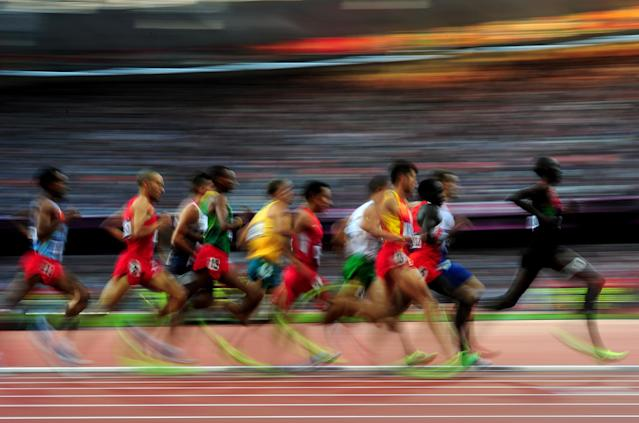LONDON, ENGLAND - AUGUST 03: Athletes compete in the Men's 1500m Round 1 Heats on Day 7 of the London 2012 Olympic Games at Olympic Stadium on August 3, 2012 in London, England. (Photo by Stu Forster/Getty Images)
