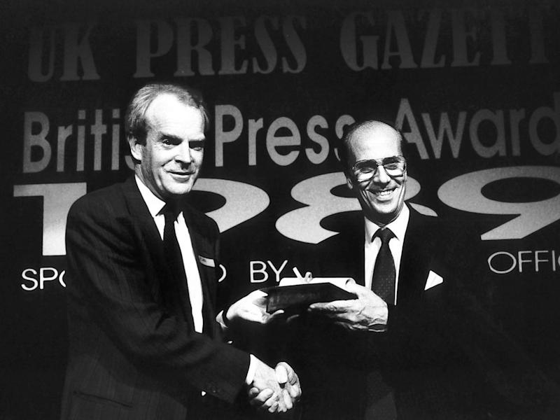 Rupert Cornwell at the 1997 British Press Awards (Independent)