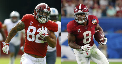 FILE - At left, in a Nov. 17, 2018, file photo, Alabama tight end Irv Smith Jr. (82) carries the ball in for a touchdown against Citadel during the second half of an NCAA college football game, in Tuscaloosa, Ala. At right, in a Dec. 29, 2018, file photo, Alabama running back Josh Jacobs (8) runs the ball, during the first half of the Orange Bowl NCAA college football game against Oklahoma, in Miami Gardens, Fla. Four Alabama players are skipping their final seasons to enter the NFL draft, including Smith Jr. and Jacobs. (AP Photo/File)