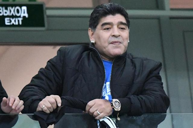 Diego Maradona was watching on as Argentina crashed to an embarrassing 3-0 defeat by Croatia (AFP Photo/Dimitar DILKOFF)