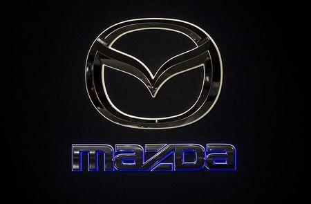 A Mazda logo is pictured at the Jacob Javits Convention Center during the New York International Auto Show in New York