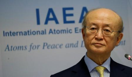 IAEA Director General Amano addresses a news conference at the IAEA headquarters in Vienna