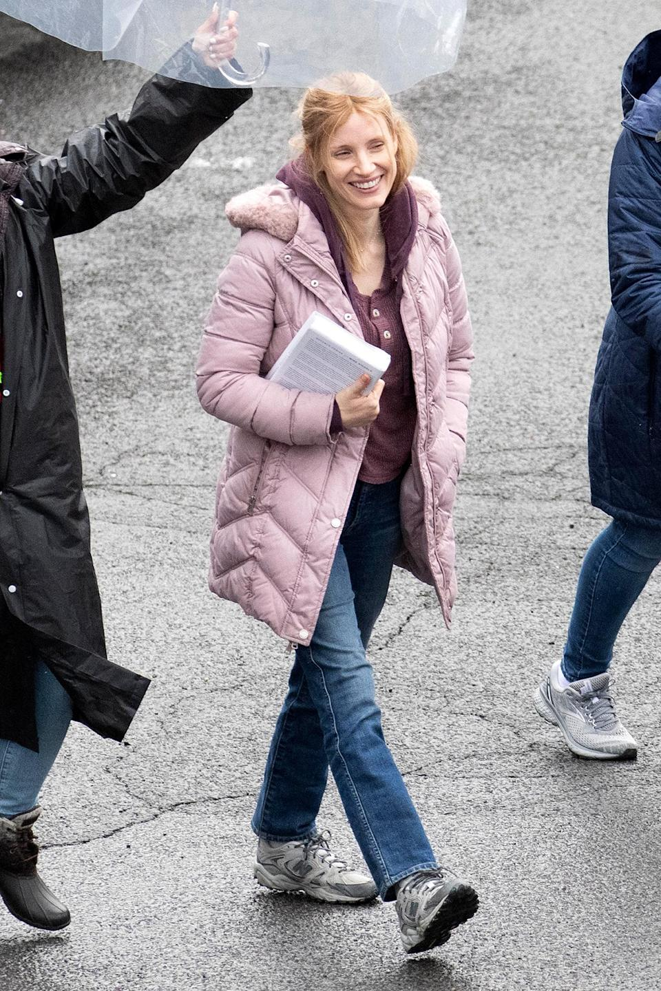 <p>Jessica Chastain was seen in costume on the Stamford, Connecticut, set of <em>The Good Nurse</em> in which she plays Amy Loughner.</p>