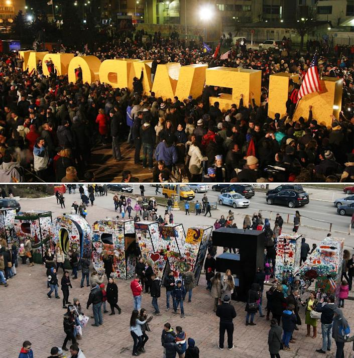 A combination of pictures shows people gathering on February 17, 2008 (top) around of the Newborn monument in Pristina and (bottom) seven years later on February 17, 2015 (AFP Photo/Armend Nimani)