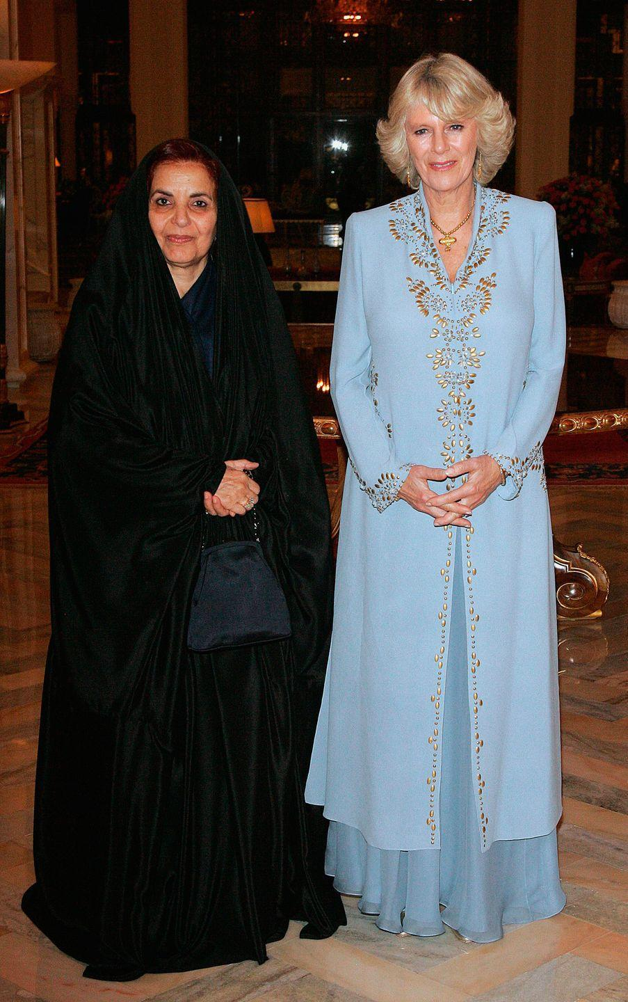 <p>The Duchess looked regal in a pale blue dress while at a dinner hosted by the King of Bahrain's wife, Shaikha Sabika.</p>