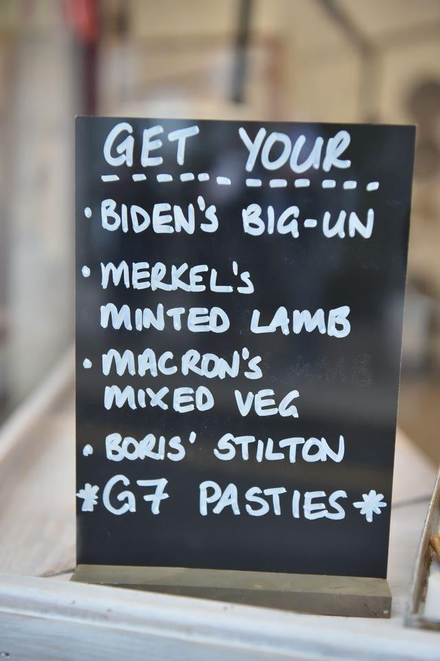 G7 Pasty Menu in the window of Pengenna Pasties in St Ives during the G7 summit in Cornwall