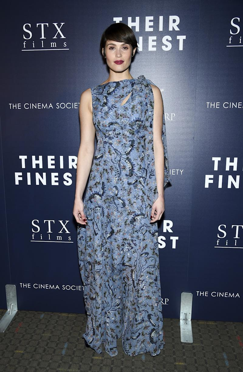 <div>Gemma's pixie cut paired perfectly with this scarf-like printed gown.<br /><i>[Photo: AP]</i> </div>