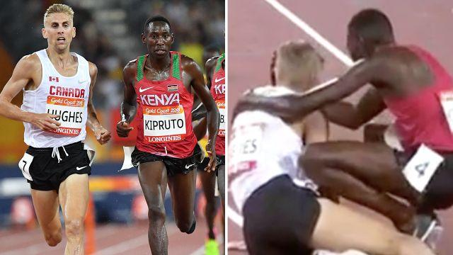 Kipruto consoled Hughes after beating him. Image: Getty/7