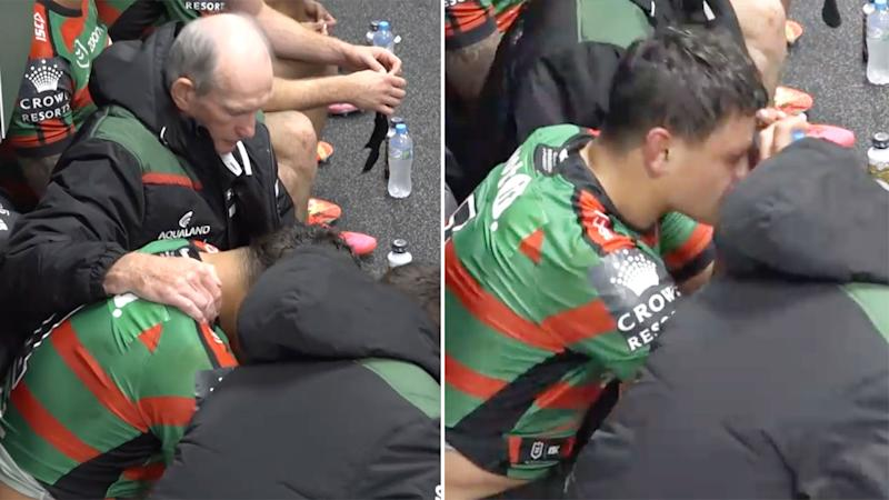 Latrell Mitchell was visibly upset in the sheds after the Rabbitohs' win.