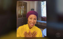 """In this video image provided by NATAS and the Daytime Emmys, Jada Pinkett Smith accepts the award for outstanding informative talk show for """"Red Table Talk"""" during the 48th Daytime Emmy Awards on Friday, June 25, 2021. (NATAS/Daytime Emmys via AP)"""