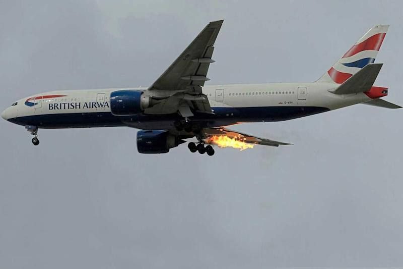 Blaze: One of the planes used in the journey, above, caught fire shortly after take-off: Gerhard Plomitzer