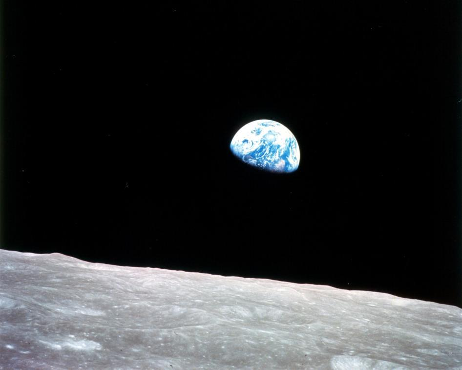 NASA astronauts took this photo of Earth rising from lunar orbit during the Apollo 8 mission on Dec. 24, 1968.