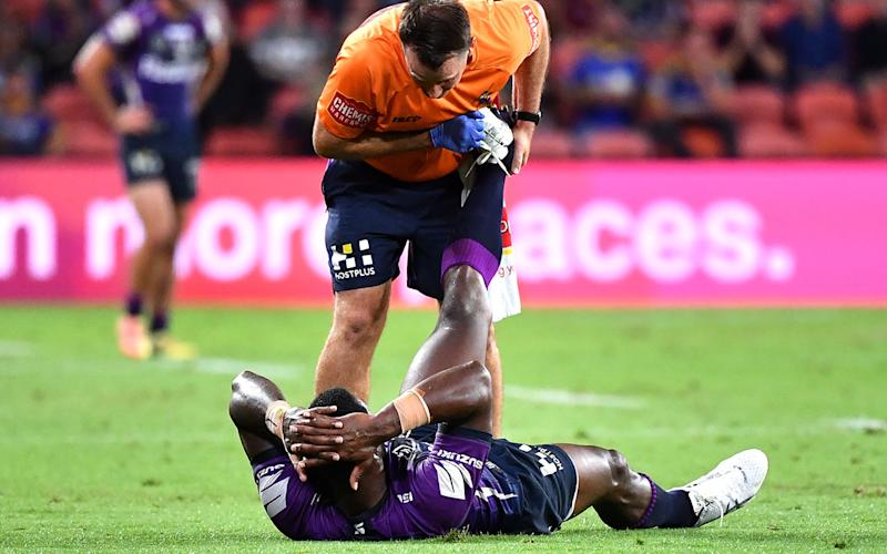 Suliasi Vunivalu, pictured here receiving assistance for cramp against the Eels.