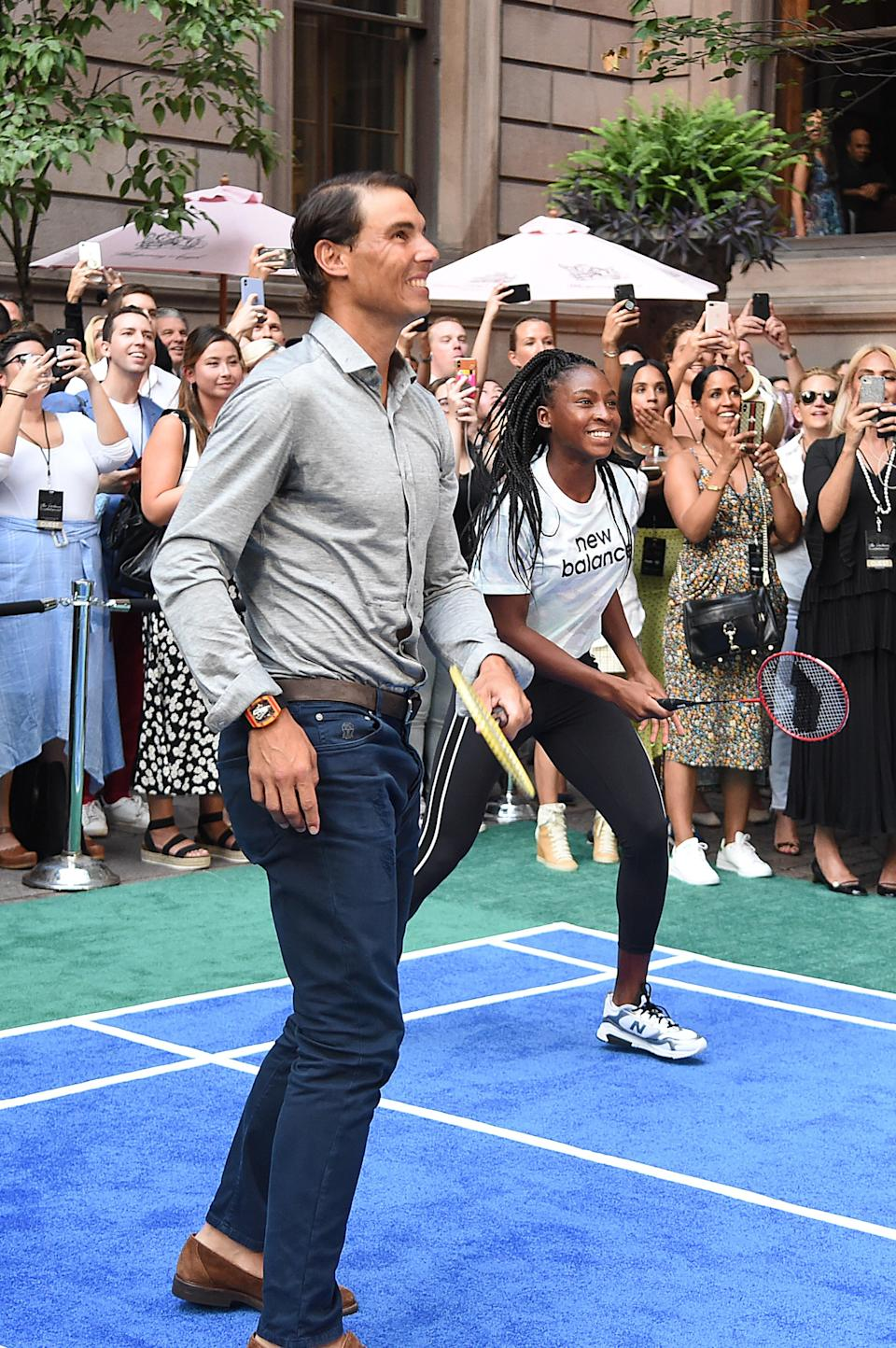 Midway through his match, Nadal's partner, <em>Today</em> cohost Dylan Dreyer, subbed out and teen phenom Gauff took the court.